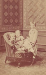 Henri at 1 years old, with his elder siblings, Charles & Catherine.