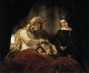Jacob Blessing the Sons of Joseph. Rembrandt 1656.