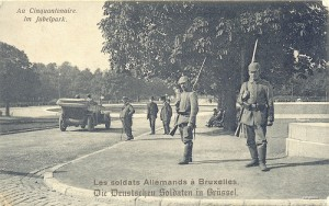 The Occupying German army in the Royal Gardens in Brussels