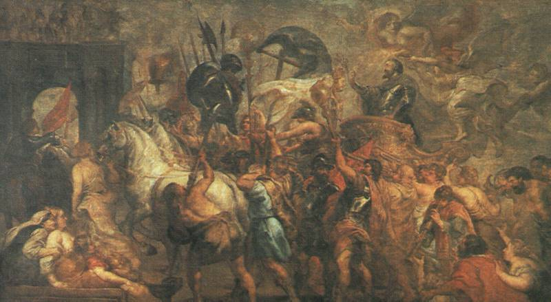 """Jean Paul's Ruben's use of earthy colors, as seen here in the """"Triumphant Entry of Constantine into Rome"""" - these colours were a constant in the Flemish Style."""